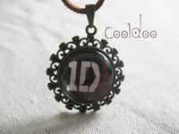 Free shipping fashion band One Direction logo pendant zinc alloy glass pendant necklace for boys girls