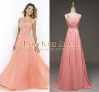 Sexy Sleeveless Sheer Scoop Neck Crystal Beading Coral Chiffon Prom Evening Dress Long