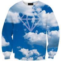 Spring 2015 Women Hoodies Sweatshirts Pullovers European Brand Fashion Sport Suit Blue Sky Print Tracksuits S17-445