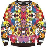 2015 Brand Women Hoodies Harajuku Sweatshirts 3D Adventure Time Ball Printed Pullovers Sportswear Tracksuits S17-448