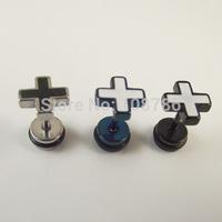 24pcs Free Shipping Fashion Punk Titanium Steel Cross Stud Earrings Ear Piercing Jewelry  For Men Women