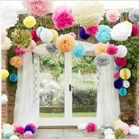 "5X Hot selling  12""(30 cm) Wedding Decorative Props Tissue Paper Pompoms Pom Poms Balls Wedding Party Home Decor A2"