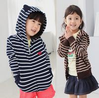 2015 Spring Children Stripe Hooded Coat Boys Fashion  jacket Coat Kids Clothing Free Shipping 5 PCS
