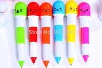 6PCS Cute Smiling Face Pill Ball Point Pen Pencils Telescopic Vitamin Capsule Ballpen for School