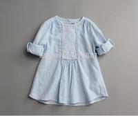 2015 Girls spring lace long sleeve blouses , girls' blouses , shirt baby girl , 6pcs/lot   MWQ05