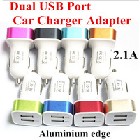10pcs Aluminium edge 2.1A Dual USB port Car Charger for iphone 4s 5s 6 6plus samsung s3 s4 s5 Tablet PC USB Car charger adapter