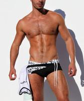 Free shipping Men's swimming trunks fashion belt low-waist sexy swimwears vampish la rond men aqux swimwear