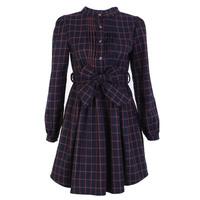 Spring fashion vintage bow belt fleece lining small stand collar high waist plaid one-piece dress