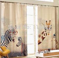 Free shipping Modern Style Zebra giraffe linen curtain for kids living room, balcony, study animal curtain