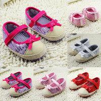 Kids Girls Bowknot Bling Sequin Baby Shoes Infant Prewalker Toddler Crib Shoes