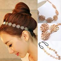 2015 Womens Fashion Metal Chain Jewelry Hollow Rose Flower Elastic Hair Band Headband Jewelry Drop Shopping Headwear 18043