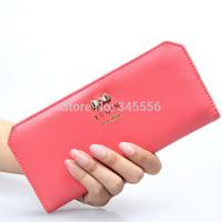 2015 New Arrival Matte Leather Women Long Wallet Clutch Bag Lovely Cute bowknot Card Holder Bag Super Thin Purse Wallets