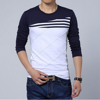 Free Shipping mens t shirts fashion 2014 fall new spell color round neck long-sleeved T-shirt men 3XL 4XL 5XL  H1439