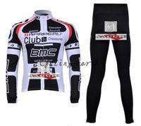 Free shipping! BMC 2011 Winter long sleeve clothes cycling jersey+bib pants bike bicycle thermal fleeced wear set gel pad
