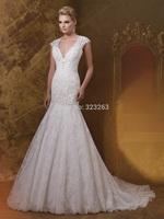 Greek Style Cap Sleeve Mermaid Wedding Dresses Lace 2015 Bridal Gown Sheer Keyhole Back Custom Made NF227