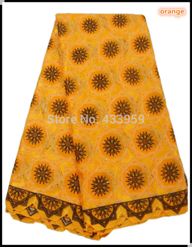 Wholesale orange embroidered African lace fabric,very good quality and cheap price cotton swiss voile lace(China (Mainland))