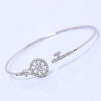 Luxury Micro Pave Crystal Zircon Flower Sweet Bracelet Cuff Bangle Women 18K Platinum Plated Fashion Korean Delicate Bracelet