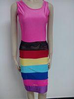 Multi-colored rainbow bandage dress sexy nightclub nightclub gauze sleeveless package hip harness dress SC034