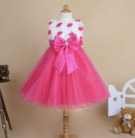 2015 new summer dress flower girls princess dress gauze bow kids dress free shipping