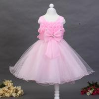 2015 new girl dress high quality lotus crystal decorative bow gauze tutu princess dress free shipping