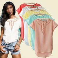 Blusas Feminina 2015 Summer Women's Clothing Blouses Shirts Chiffon Carved Hollow Out Vintage Short Batwing Sleeve Shirts Tops