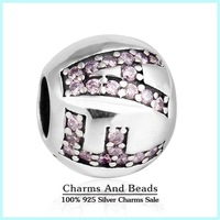 2015 New Letters Of Faith Alphabet Charms Pave Pink CZ Charm Authentic 925 Sterling Silver DIY Jewelry For Brand Bracelet SH0552