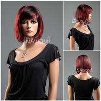 Free Shipping Lady KANEKALON Red Black Wigs Short Full Wigs With Bangs 11.8 Inch Beauty Bobo Hair Girls Woman Hairpiece W3304