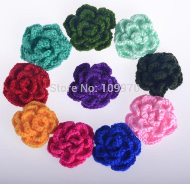3D handmade flower Crochet Pattern patch vintage bag clothing purse headwear decoration applique sewing on accessory 10pcs/lot(China (Mainland))