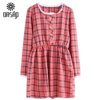 OASAP 2015 Women Essential  Round Neckline Plaid Flare Dress Long Sleeve Vestidos Femininos Casual Dress