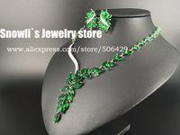 2015 luxury fashion elegant emerald zircon necklace earrings set, wedding, banquet, dress jewelry ,S14056
