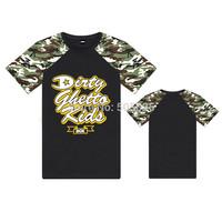 Hip Hop DGK t shirt for  Men Street Skateboard Printed T Shirts Camouflage sleeve Naked Undressed hip hop Tshirts  Top Shirts