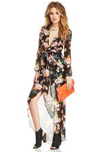 2015 spring and summer deep V sexy lace waist chiffon dress women dress dovetail