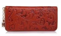 women purses genuine leather purse for women fashion brand designer printed flower leather wallet bag clutch purses handages