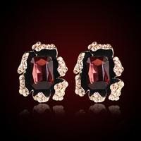 QMODE 2015 Palace Design Luxury Gem Flowers Earrings Stereoscopic Metal Shiny Crystal Ear Stud