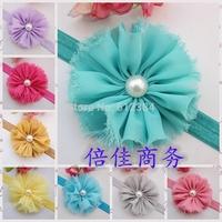 Hot Newborn Infant elastic headband chiffon shabby flower with pearl toddler hair bands 10PCS