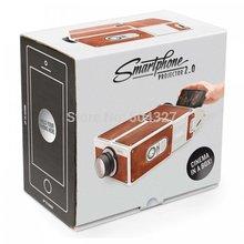 Free Shipping 1Pieces Cardboard Smartphone Projector 2 0 DIY Novelty Projector Portable Cinema