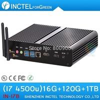 Intel I7 4500u 4650u fanless mini pc with haswell architecture 1.8Ghz USB 3.0 HDMI  16G RAM 120G SSD 1TB HDD Windows or Linux