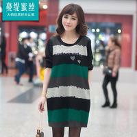Bamboo 2015 spring stripe rhinestones mm loose skirt plus size one-piece dress