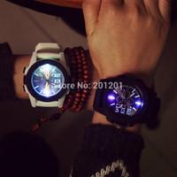 2015 New Fashion Men Women Wristwatches Sports Silicone Casual Quartz Luminous Led Lover watch couples 714 Free Shipping