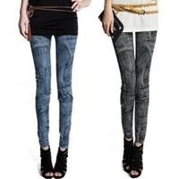 2015 Spring  Women Faux Jeans Printed Leggings Elastic Slim Leggings Fashion Patchwoek Skinny Pants BCL5124