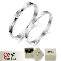 OPK Romantic Lovers' Bangles Fashion Valentine's Day Gift 316L Stainless Steel AAA+ Cubic Zirconia Jewelry For Women/Men GH748