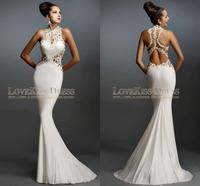 Sexy Halter Neck See Through Back Mermaid Prom Dress Long 2015 Formal Evening Dress