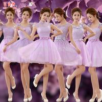 2015 short design formal dress autumn and winter evening dress the evening dress purple