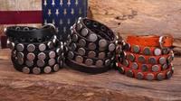 S317 Lot 3pc Rock R&B Round Studs Multi 5-Wrap Leather Wristband Bracelet Bangle