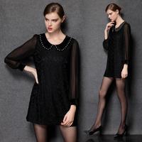 XL-4XL 2015 Spring Summer Women Short Black Lace Dresses Ladies Transparent Long sleeve Casual Dress Plus size XXXXL