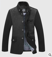 XFashion Men's Color Stitching Knitting Collar Wool Jacket