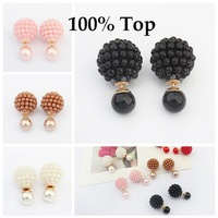 Min. Order 9$! Double Sided Pearl Stud Earrings Rice Bead Imitation Pearl Jewelry