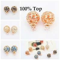 Min. Order 9$! NEW Design Stud Earrings 5 Colors Rhinestone Crystal Double Sided Earrings for Women