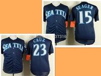 Cheap Sale Man Jerseys #15 Kyle Seager 23 Nelson Cruz Jersey Blue 2015 New Men's Baseball Jerseys Accept Mix Order