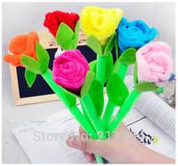 Free shipping Plush Roses Ballpoint pens 6pcs/lot office school kids girls stationery creative gadget surprise valentine gifts